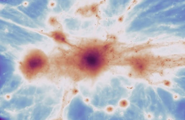 A massive galaxy cluster from the simulation, with filaments.