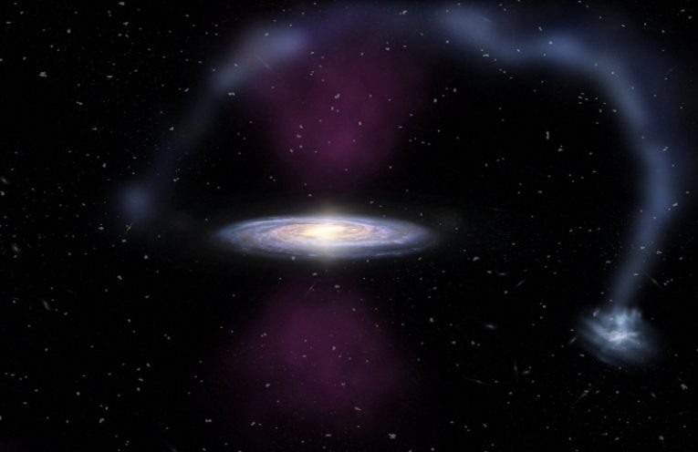 An artist's impression of the massive bursts of ionizing radiation exploding from the center of the Milky Way and impacting the Magellanic Stream.