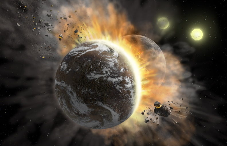 Artist's concept illustrating a catastrophic collision between two rocky exoplanets in the planetary system BD +20 307, turning both into dusty debris. Ten years ago, scientists speculated that the warm dust in this system was a result of a planet-to-planet collision. Now, SOFIA found even more warm dust, further supporting that two rocky exoplanets collided. This helps build a more complete picture of our own solar system's history. Such a collision could be similar to the type of catastrophic event that ultimately created our moon.