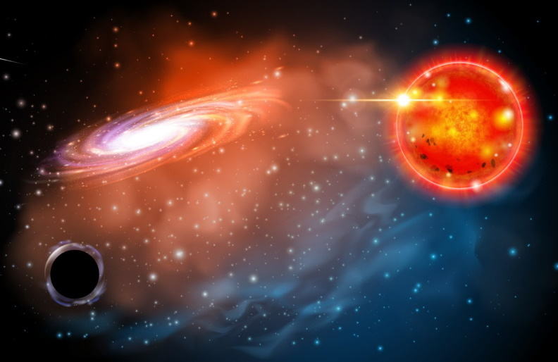 An artist's impression of a small black hole orbiting with a red giant star, which astronomers claim to have now discovered