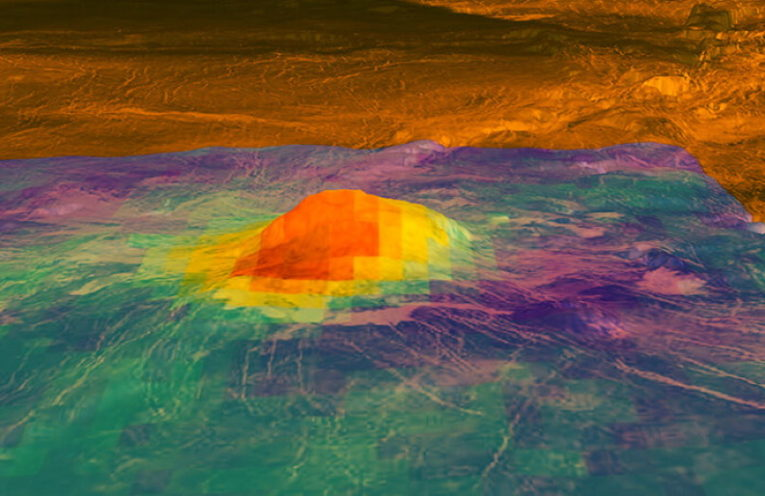 This figure shows the volcanic peak Idunn Mons (at 46 degrees south latitude, 214.5 degrees east longitude) in the Imdr Regio area of Venus. The colored overlay shows the heat patterns derived from surface brightness data collected by the Visible and Infrared Thermal Imaging Spectrometer (VIRTIS), aboard the European Space Agency's Venus Express spacecraft.